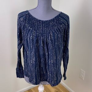 Lucky brand blue white ruched elastic top medium